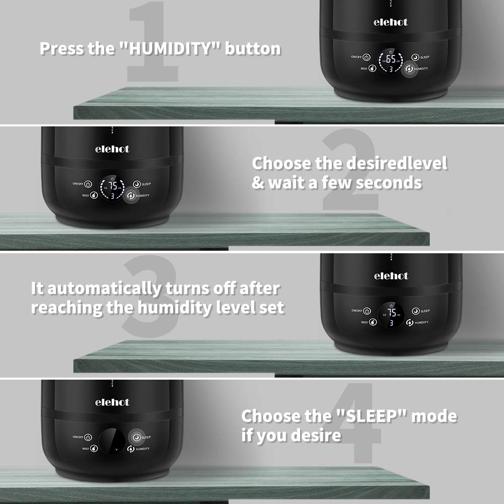 ELEHOT 5L UltraSonic Humidifier Cool Mist Essential Oil Diffuser Aroma Touch Screen Adjustable Mist Mode Waterless Auto Shut off for Home Bedroom