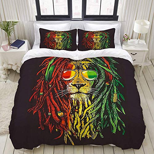Yaoni Duvet Cover,Reggae Rasta Lion,Bedding Set Ultra Comfy Lightweight Microfiber Sets