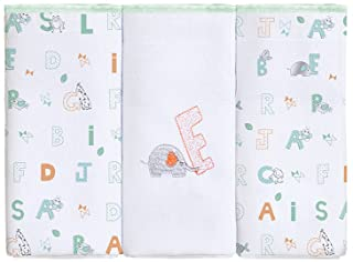Fralda Zinha Bordado com Estampado, Papi Textil, Verde, 63x63 cm, Pacote de 3
