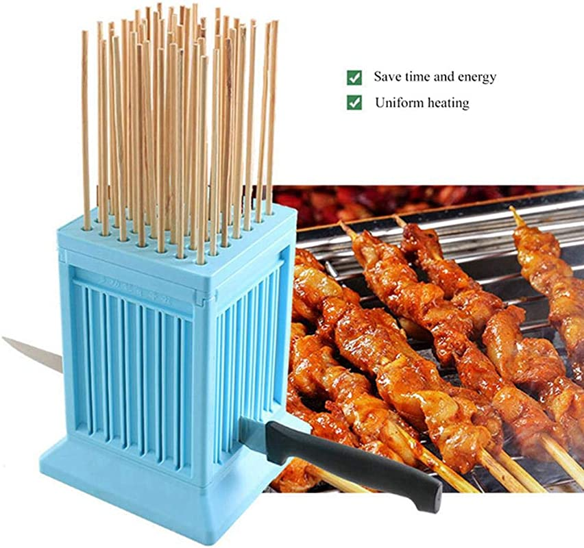 Volwco 49 Hole BBQ Shish Kebab Skewer Maker Box Barbecue Accessories Tools With Roasted Meat Cutter Outdoor For Meat Fruit Vegetables