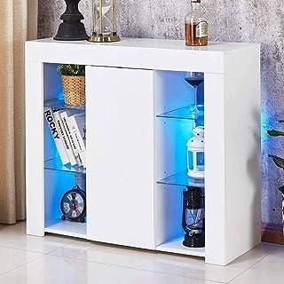 Armoire de buffet de cuisine de salon à haute brillance avec lumière LED RVB, grande armoire de rangement de buffet à étag...
