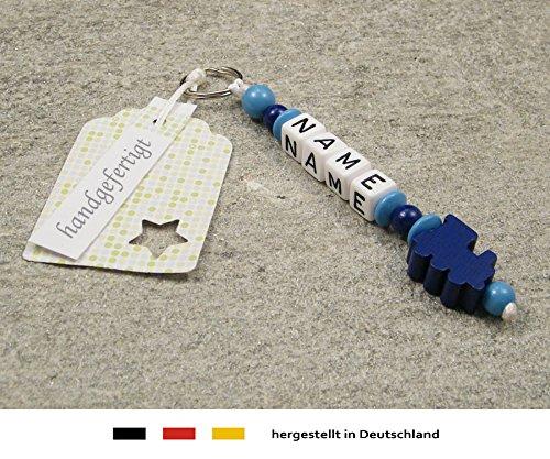 Naamhanger - hanger met naam - baby kinderen sleutelhanger voor luiertas, kleuterschooltas, schooltas of rugzak met sleutelring - jongens motief lok in donkerblauw