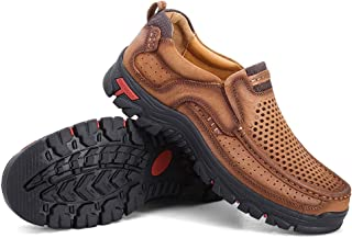 COSIDRAM Summer Men Breathable Casual Shoes Slip on Walking Driving Shoes Luxury Genuine Leather Brown Khaki Leisure Sneakers Comfort Shoes Business Work Office Dress Outdoor
