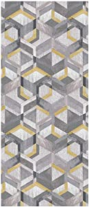 WEBTAPPETI.IT Tappeto corridoio Antiscivolo Deco Mats Retro Grey Ochre Cm.60x240