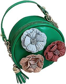 Wultia - Bags for Women 2019 WChildren Flowers Leather Circular Bag Flower Tassels Shoulder Messenger Bag Bolsa Feminina Green