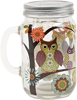 Topadorn Glass Mason Jar Beer Cup with Handle and Lid 24 oz,Owl