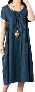 Women Cotton Linen Loose Fitting Dress