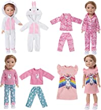"""14/"""" Doll Clothes-fits American Girl Wellie Wishers-Pajamas-Flannel-Hearts"""