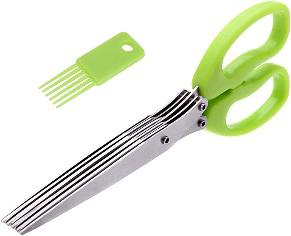 Kitchen Scissors Herb Scissors 5 Blades Stainless Steel With Clean Comb Cover Fast And Easy Clean Green