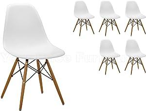 6x Moderne Eiffel Inspiré Six Chaises - Sièges en plastique blanc.