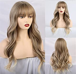 "Huasea 24""Blonde Wig with Bangs Synthetic Heat Resistant Fiber Natural Long Wave Daily Cosplay Wigs for Women"