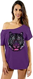 Awkwardstyles Women's Tiger Face Off Shoulder Tops T-Shirt + Bookmark