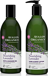 Avalon Organics Nourishing Lavender Bath and Shower Gel and Avalon Organics Nourishing Lavender Hand and Body Lotion Bundle With Lavender Essential Oil, Quinoa Protein and Aloe, 12 oz each