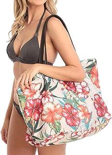 Shoulder Bag Women Canvas National Floral Beach Tote Handbag Summer Shoulder Bag Handbag Clutch (Color : Khaki)