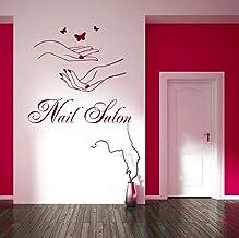 Smydp Nail Salon Sign Wall Window Sticker Manicure Hands Butterflies Beauty Salon Nail Art Vinyl Sticker Home Decor Wall Decals 60X56Cm