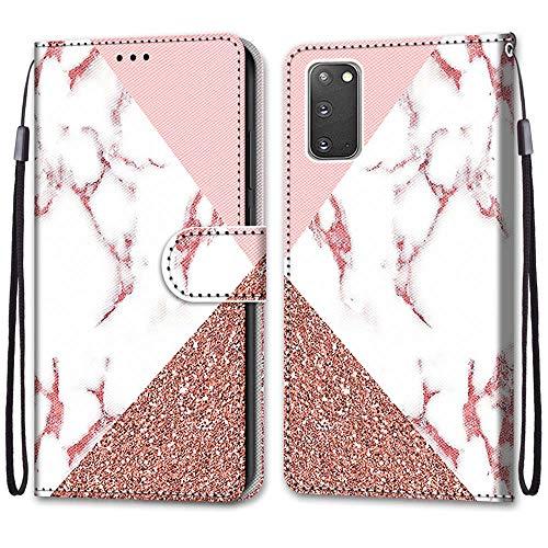 Nadoli Handyhülle Leder für Samsung Galaxy S20,Bunt Bemalt Rosa Marmor Trageschlaufe Kartenfach Magnet Ständer Schutzhülle Brieftasche Ledertasche Tasche Etui