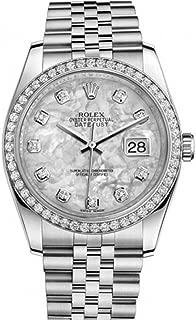 Datejust 36mm Mother Of Pearl Dial Diamond Bezel Steel Ladies Watch 116244