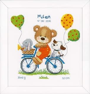 Vervaco Birth Record Cycling Bear Cross Stitch Kit