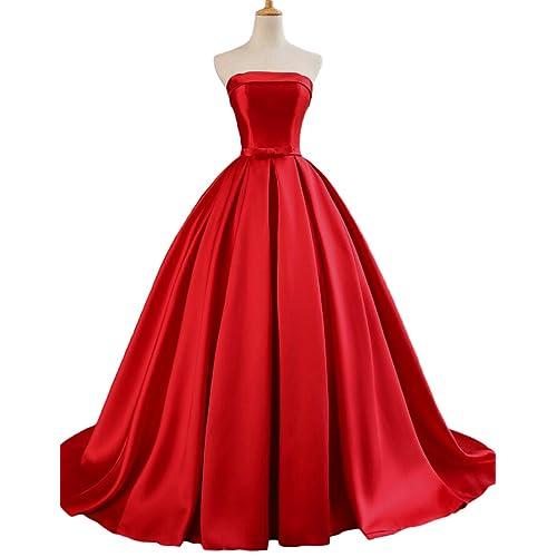 81008d8da8bf Dymaisei Women's Strapless Ball Gown Prom Party Dresses 2019 Long Formal  Dresses