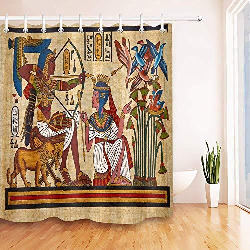 Wild One Curtain Cortina De Ducha, Antiguo Egipto Mural Faraón Reina Tiro con Arco 3D Impresión Digital Tela De Poliéster Baño Cortinas De Ducha con Ganchos,W122 X H183 CM/48X72 Pulgada