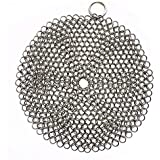 316 Premium Stainless Steel Cast Iron Cleaner, Chainmail Scrubber for Cast Iron Pan Pre-Seasoned Pan Dutch Ovens Waffle Iron Pans Scraper Cast Iron Grill Scraper Skillet Scraper Round (7 Inch)
