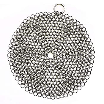 316 Premium Stainless Steel Cast Iron Cleaner Chainmail Scrubber for Cast Iron Pan Pre-Seasoned Pan Dutch Ovens Waffle Iron Pans Scraper Cast Iron Grill Scraper Skillet Scraper HOVhomeDEVP  7 Inch