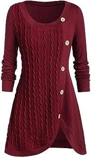 Plus Size Sweatshirt Women O-Neck Long Sleeve Solid Tops Autumn Winter Button Patchwork Asymmetric Sweater