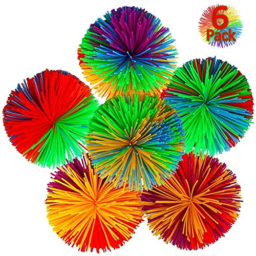6-Pack Monkey Stringy Balls, Soft Active Fun Toy, Great Fidget / Stress / Sensory Toy Rainbow Pom Bouncy Stress Ball Games for Sensory Kids Children Adults Office and Home