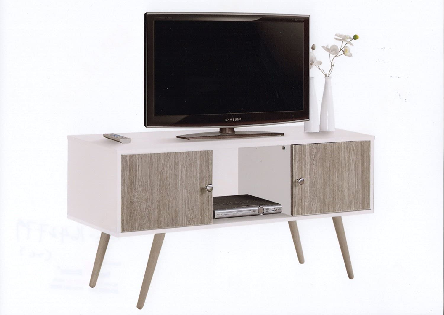Hodedah HITV435 White-Grey Retro Style TV Stand with Two Storage Doors, and Solid Wood Legs, White Grey