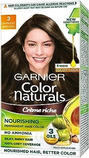 Garnier Color Naturals Nourishing Permanent Hair Colour Cream - Darkest Brown 3 1 Set