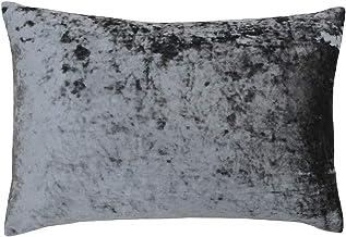 Riva Paoletti Verona Cushion Cover Rectangle - Pewter Grey - Velvet Feel - Crushed Velvet Look - Hidden Zip Design - 100% ...
