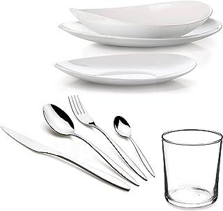 Bormioli - Comas - Service de table complet 12 personnes moderne et élégant - 96 pièces - Service de table (plats-fonds, d...