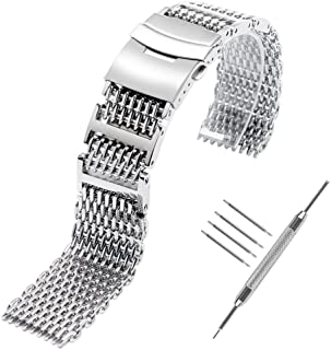 YISUYA Shark MESH 20MM 22MM 24MM Full Stainless Steel Watch Band Heavy Duty Diving Dive Watch Strap …