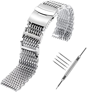Shark MESH 20MM 22MM 24MM Full Stainless Steel Watch Band Heavy Duty Diving Dive Watch Strap …