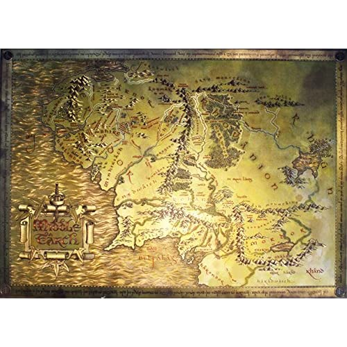 Lord Of The Rings Online World Map.Amazon Com The Lord Of The Rings The Hobbit Map Of Middle Earth