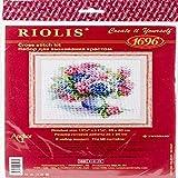 Riolis Kreuzstich-Set Hortensie, Zählmuster Punto de Cruz, algodón, multicolor, 35.0 x 30.0 x 0.1 cm