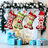 4 Pieces 17 Inch Personalized Knit Argyle Christmas Stockings Large Knit Dog Christmas Stockings...