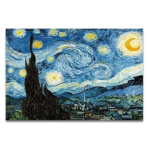 LiMengQi2 Pintura al óleo Cielo Estrellado Iris Amanecer Paisaje Lienzo Pintura impresión Cartel Imagen decoración de la Pared (No Frame)