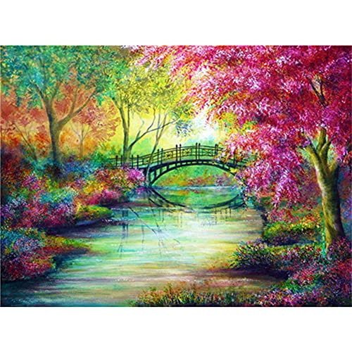 5D Diamond Painting Kits,Color Forest Bridge DIY Diamond Painting Cross Stitch Full Drill Crystal Rhinestone Painting Embroidery Pictures for Home Wall Decor 30x40cm/12x16in
