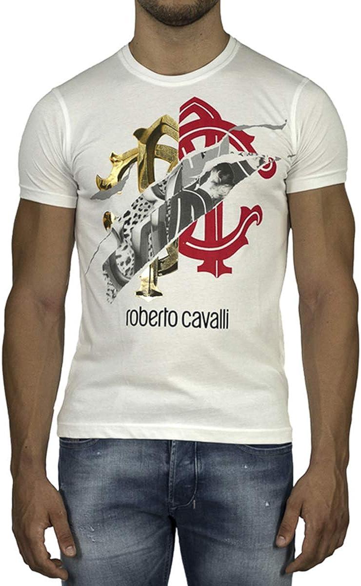 ROBERTO CAVALLI Camiseta de algodón para hombre con logo de color blanco