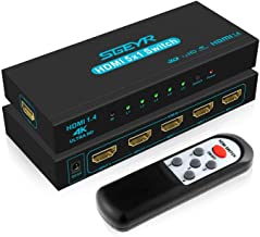 SGEYR HDMI Switch 5 Port V1.4 HDMI Switcher 5 in 1 Out HDMI Switch Selector Box with IR Upgraded Remote Control Support 4K...