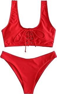 ZAFUL Womens Scoop Neck Lace Up Bikini Set Padded Two Piece Swimsuit Bathing Suit