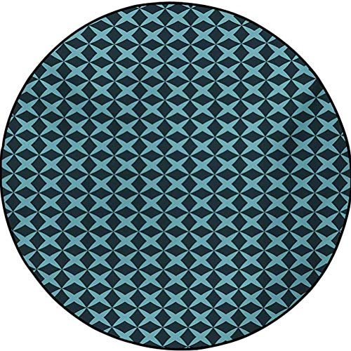 Blue Polyester Pattern Rugs Cozy Color Contemporary Soft Rug Wire Inspired Floral Like Image Thick Crossed Horizontal Lines Image Slate Blue and Pale Blue 2.9 ft in Diameter