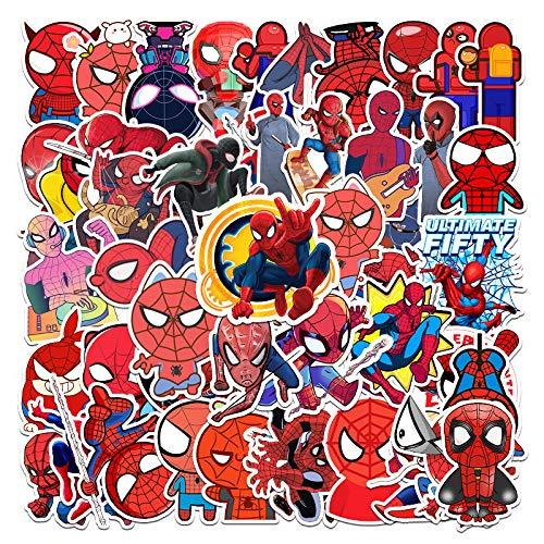 SHUHU Pegatinas de Maleta de Spider-Man de Dibujos Animados Estuche de Viaje Pegatinas de PVC para Coche portátil 57 Hojas
