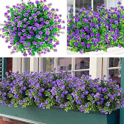 Awtlife - Set di 15 fiori artificiali per esterni e esterni, resistenti ai raggi UV, per feste di nozze, bouquet da sposa, per piante arbuste, piante e giardini