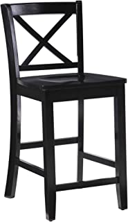 Linon Home Dcor Black X Back Counter Stool, 16