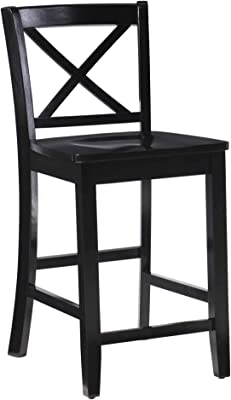 Amazon Com Crosley Furniture X Back Bar Stool Set Of 2 24 Inch Black Furniture Decor