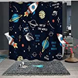 Lovely Starry Sky Fabric Shower Curtain for Kids, Funny Galaxy Bathroom Decor Curtain for Girls and Boys,Kids Shower Curtains Set with 12 Hooks, Waterproof Shower Curtain, 72x72 ''