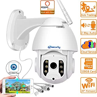 1080p WiFi PTZ Camera Outdoor Works with Alexa Wireless Auto Tracking Speed Dome Camera Surveillance CCTV Security IP Camera 1080P-2A-32GB(3.6MM)