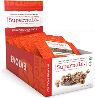 Supernola Healthy Paleo Granola Delicious High Protein Gluten Free Vegan-Friendly Grab & Go Snack Mix, Signature Spiced Goji, 1.5 Ounce Bags (Pack of 12)